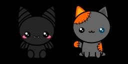 Halloween Cute Bat and Voodoo Cat Cursor
