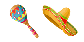 Mexico Maraca and Sombrero Curseur