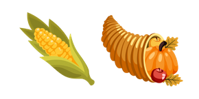 Курсор Thanksgiving Day Corn and Cornucopia