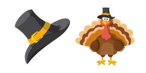 Курсор Thanksgiving Day Pilgrim Hat and Turkey