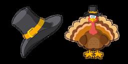 Thanksgiving Day Pilgrim Hat and Turkey Cursor