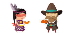 Курсор Thanksgiving Day Indian and Pilgrim
