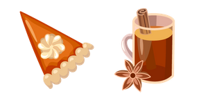 Thanksgiving Day Pumpkin Pie and Tea Cursor