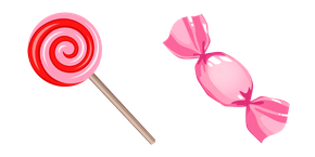 Pink Lollipop and Wrapped Candy Curseur