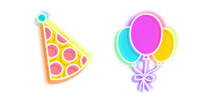 Colourful Party Hat and Balloons Neon Cursor