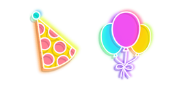 Colorful Party Hat and Balloons Neon Cursor