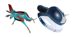 Subnautica Reaper Leviathan and Seamoth Cursor