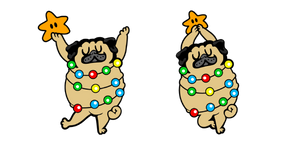 Cute Christmas Tree Pug Curseur