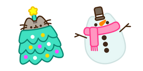 Christmas Tree Pusheen and Snowman Curseur