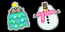 Christmas Tree Pusheen and Snowman Curseur
