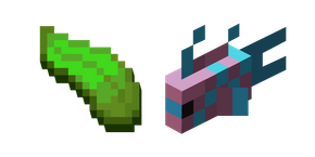 Minecraft Kelp and LightBlue-Pink Spotty Fish Cursor
