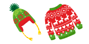 Ugly Christmas Sweater and Hat Cursor