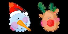 Christmas Aquarelle Snowman and Deer