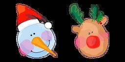 Christmas Aquarelle Snowman and Deer Curseur