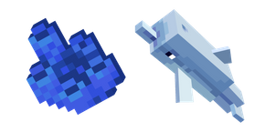 Minecraft Tube Coral and Dolphin Cursor