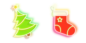 Green Christmas Tree and Red Stocking Neon Cursor