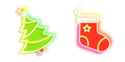 Green Christmas Tree and Red Stocking Neon Curseur