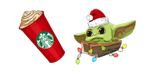 Christmas Baby Yoda and Starbucks Cup Curseur