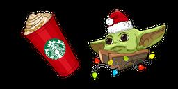Christmas Baby Yoda and Starbucks Cup Cursor