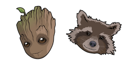 Baby Groot and Rocket Curseur