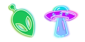 Green Alien and Purple UFO Neon Curseur