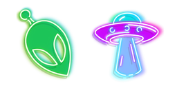Green Alien and Purple UFO Neon Cursor