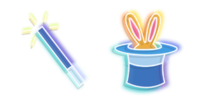 Blue Magic Wand and Hat Neon Cursor