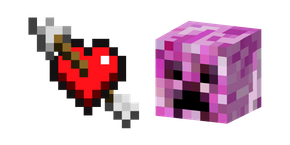 Minecraft Heart with Arrow and Pink Creeper Cursor
