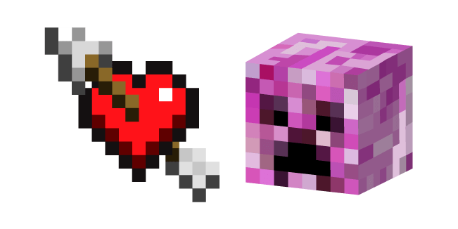 Minecraft Heart with Arrow and Pink Creeper