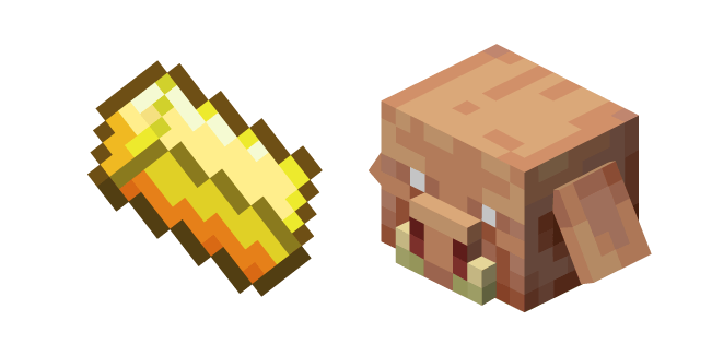 Minecraft Gold Ingot and Piglin