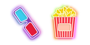 Colorful 3d Glasses and Popcorn Bucket Neon Cursor