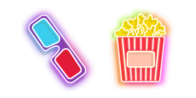 Colorful 3d Glasses and Popcorn Bucket Neon