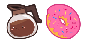 Cute Coffee Pot and Donut Curseur