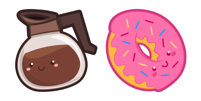 Cute Coffee Pot and Donut