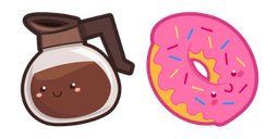 Cute Coffee Pot and Donut Curseur