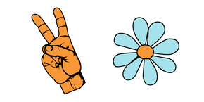 VSCO Girl Victory Hand and Flower Cursor
