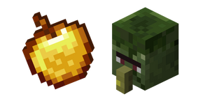 Minecraft Golden Apple and Zombie Villager Cursor