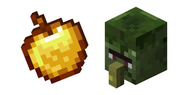 Minecraft Golden Apple and Zombie Villager