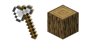 Minecraft Iron Axe and Oak Log Cursor
