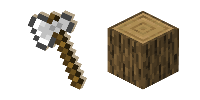 Minecraft Iron Axe and Oak Log