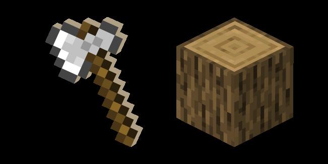 Minecraft Iron Axe and Oak Log