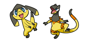 Pokemon Helioptile and Heliolisk
