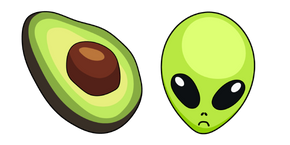 VSCO Girl Avocado and Alien Curseur
