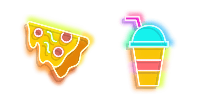 Yellow Pizza and Colourful Drink Neon