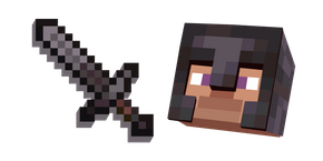 Minecraft Netherite Sword and Netherite Armor Steve