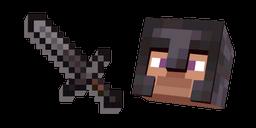 Minecraft Netherite Sword and Netherite Armor Steve Curseur