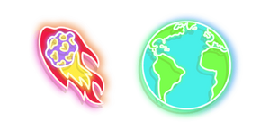Colourful Comet and Earth Neon Cursor