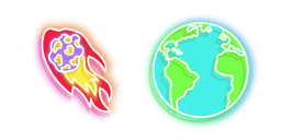 Colourful Comet and Earth Neon Curseur