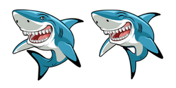 Funny Great White Shark Curseur