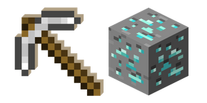 Minecraft Iron Pickaxe and Diamond Ore